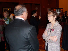 Rebecca Chopp and a guest at the Boston event